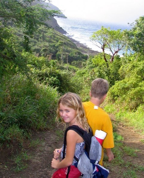 Susanne and Clark Kent hiking down to Annaly Bay. Yes, Clark Kent's shirt is inside out.