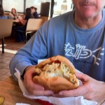 The Cock-n-Bull sandwich at Friday's Fried Chicken in Shiner, TX. Yes, he ate the whole thing.