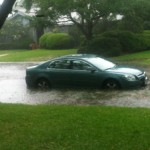 My car attempting to swim. Big storm in Houston.