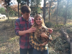 Liz and her boyfriend with 1-day old Poppy, Katie's 1st baby (Katie is the goat named after the fictional Katie).